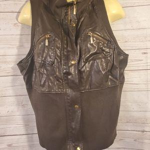 Lane Bryant Brown Zipper Vest